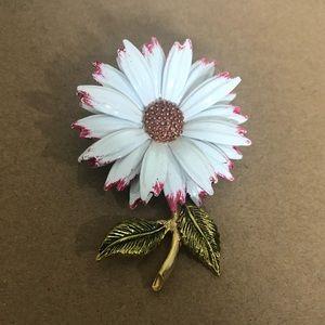 Daisy Brooch Pin White Pink Gold Petals Stem